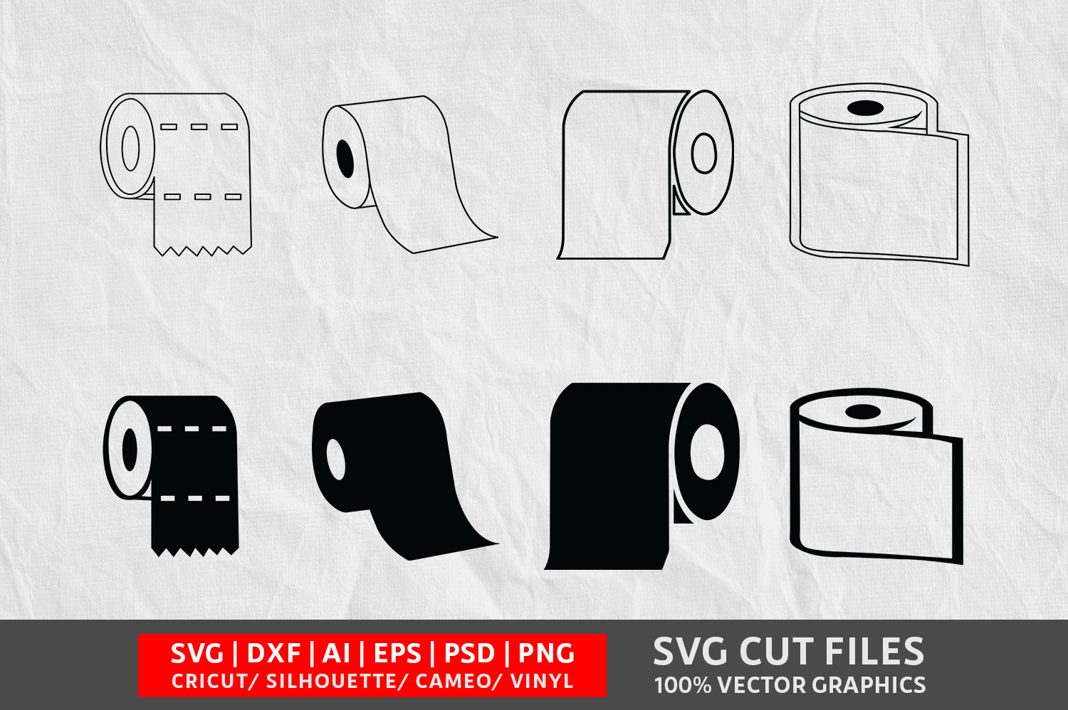 Download Free Toilet Paper Graphic By Design Palace Creative Fabrica for Cricut Explore, Silhouette and other cutting machines.