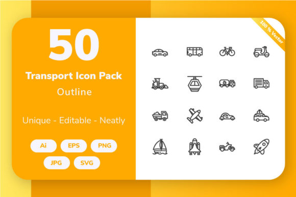 Download Free Transportation Outline Graphic By Icon Stale Creative Fabrica for Cricut Explore, Silhouette and other cutting machines.