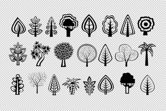 Download Free Tree Silhouettes Clipart Graphic By Alexzel Creative Fabrica for Cricut Explore, Silhouette and other cutting machines.
