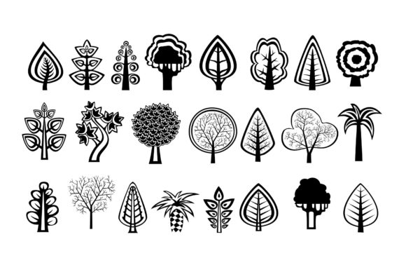 Print on Demand: Tree Silhouettes Clipart Graphic Illustrations By AlexZel