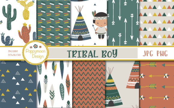 Print on Demand: Tribal Boy Paper Graphic Patterns By poppymoondesign