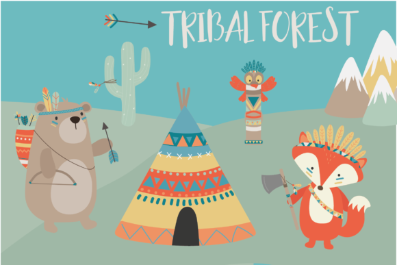 Print on Demand: Tribal Forest Animals Graphic Illustrations By poppymoondesign