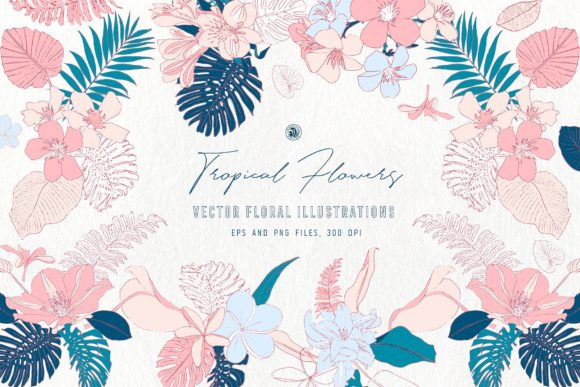 Tropical Flowers Graphic Illustrations By webvilla