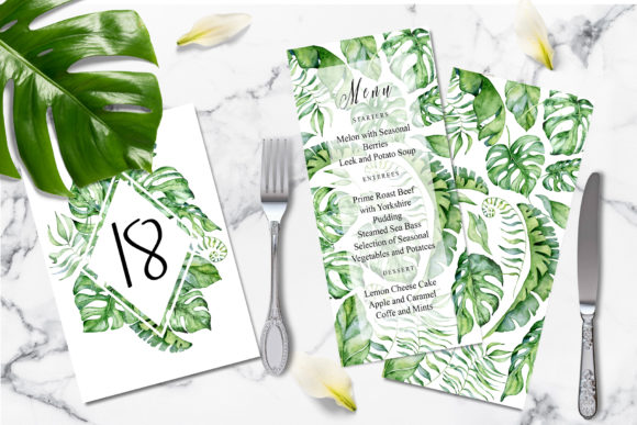 Tropical Greenery Wedding Suit Graphic Print Templates By EvgeniiasArt - Image 2
