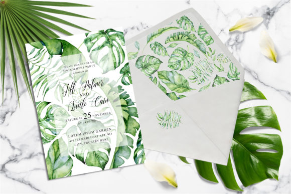 Tropical Greenery Wedding Suit Graphic Print Templates By EvgeniiasArt - Image 3