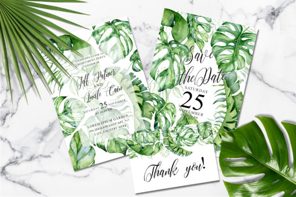 Tropical Greenery Wedding Suit Graphic Print Templates By EvgeniiasArt - Image 4