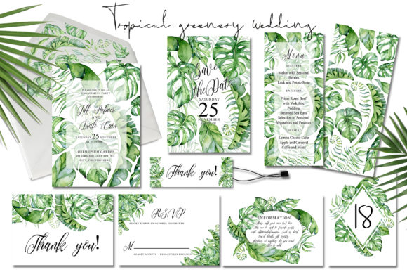 Tropical Greenery Wedding Suit Graphic Print Templates By EvgeniiasArt