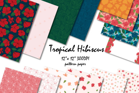 Tropical Hibiscus Digital Pattern Graphic Patterns By Jennifer Chow
