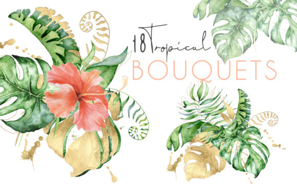 Tropical Bouquets Watercolor Jungle Clipart Graphic Illustrations By EvgeniiasArt