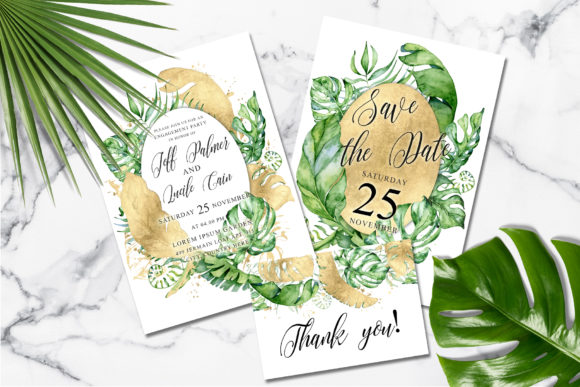 Download Free Tropical Gold Wedding Invitation Suit Graphic By Evgeniiasart for Cricut Explore, Silhouette and other cutting machines.