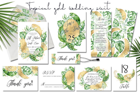 Tropical Gold Wedding Invitation Suit  Graphic Print Templates By EvgeniiasArt