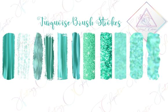 Print on Demand: Turquoise Brush Strokes Clipart Graphic Illustrations By fantasycliparts