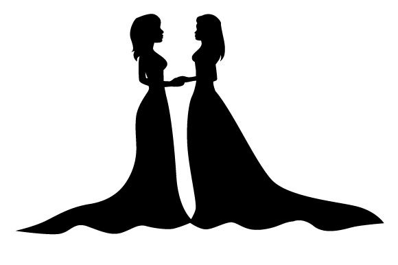 Download Free Two Brides Facing Each Other Silhouette Design Svg Cut File By Creative Fabrica Crafts Creative Fabrica for Cricut Explore, Silhouette and other cutting machines.