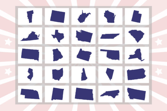 Print on Demand: US 50 States 4th July Design Element Bundle Graphic Crafts By SubornaStudio - Image 3