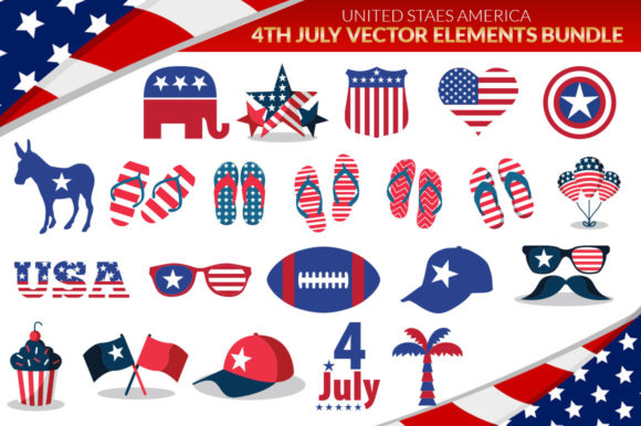 Print on Demand: US 50 States 4th July Design Element Bundle Graphic Crafts By SubornaStudio - Image 5