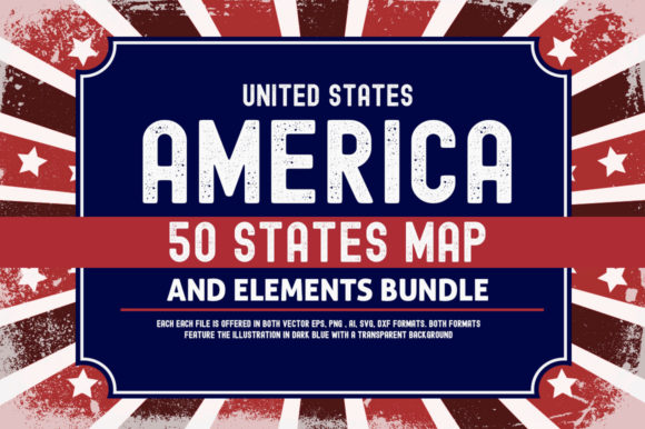 Print on Demand: US 50 States 4th July Design Element Bundle Graphic Crafts By SubornaStudio