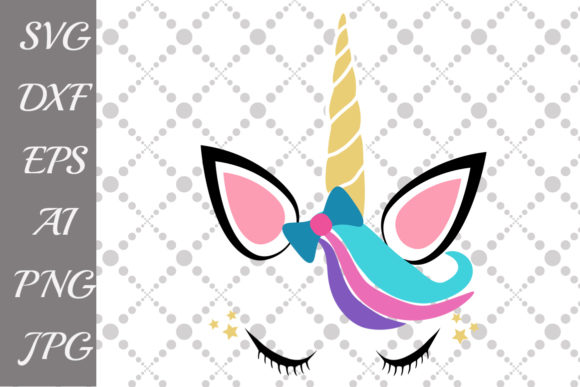 Download Free Unicorn Face Graphic By Prettydesignstudio Creative Fabrica for Cricut Explore, Silhouette and other cutting machines.