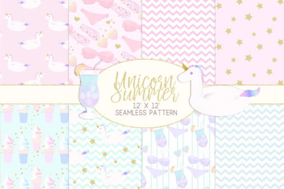 Print on Demand: Unicorn Summer Digital Paper Graphic Patterns By lilyuri0205