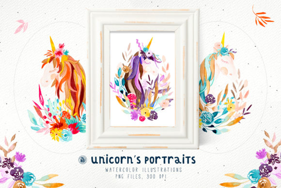 Print on Demand: Unicorn's Portraits Graphic Illustrations By webvilla
