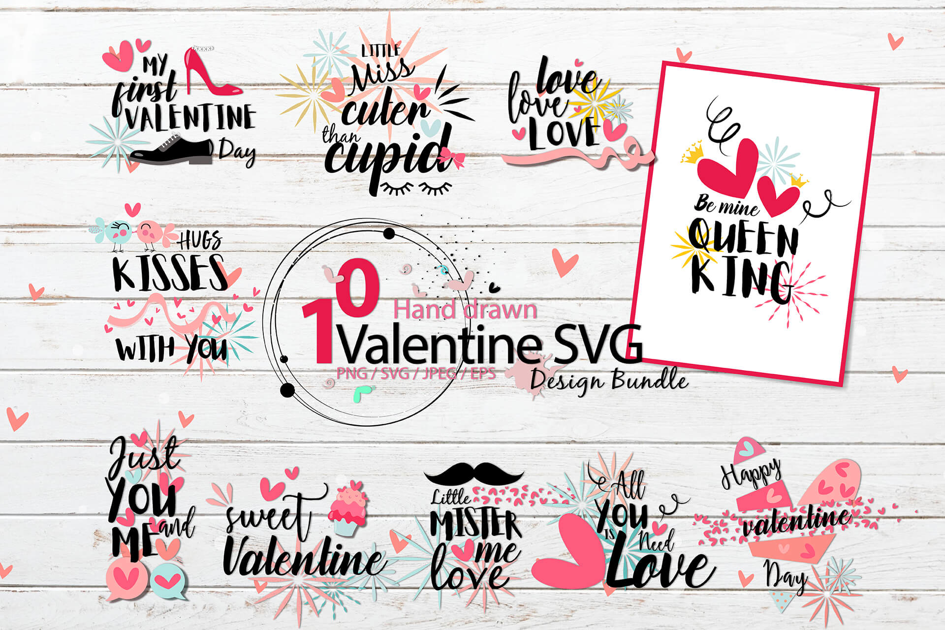 Download Free Valentine Bundle Graphic By 3motional Creative Fabrica for Cricut Explore, Silhouette and other cutting machines.