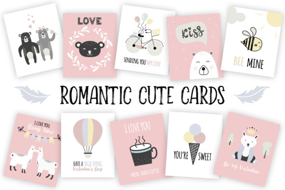 Valentine's Day Cute Cards Graphic By switzershop