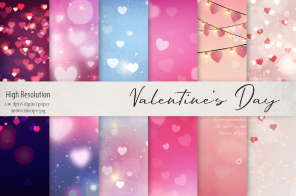 Print on Demand: Hearts and Lights Valentine's Day Textures Graphic Textures By Creative Paper - Image 1
