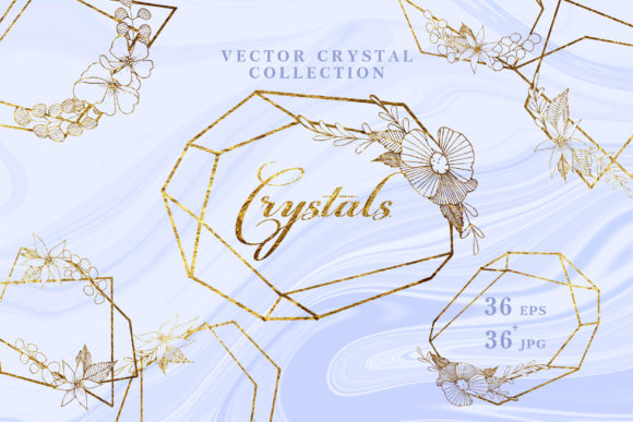 Print on Demand: Vector Collection of Crystal Shapes Graphic Illustrations By MyStocks - Image 1