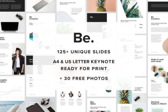 Vertical A4 US Letter Keynote Presentation Template +30 Free Photos