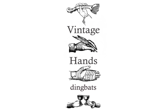 Print on Demand: Vintage Hands Family Dingbats Font By Intellecta Design