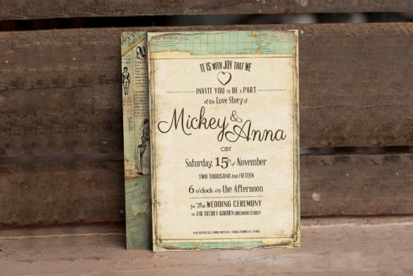 Download Free Vintage Journey Wedding Invitation Grafik Von Blue Robin Design for Cricut Explore, Silhouette and other cutting machines.