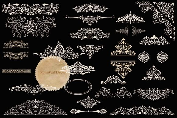 Print on Demand: Vintage Ornaments Clip Art Set Graphic Objects By retrowalldecor