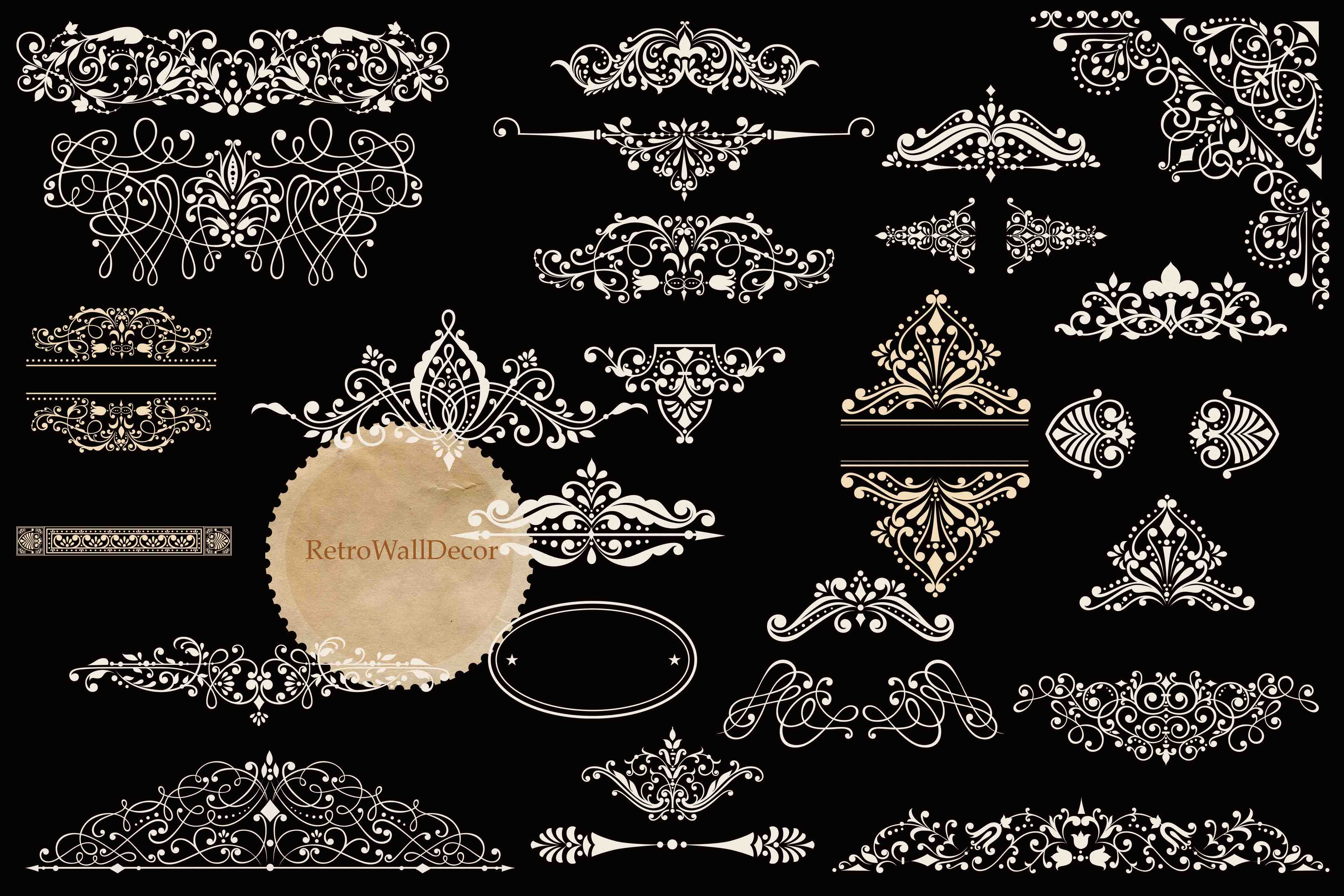 Download Free Vintage Ornaments Clip Art Set Graphic By Retrowalldecor for Cricut Explore, Silhouette and other cutting machines.