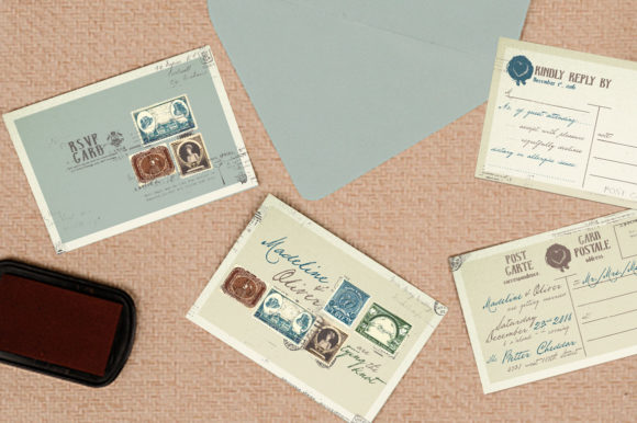 Download Free Vintage Stamp Wedding Invitation Graphic By Blue Robin Design for Cricut Explore, Silhouette and other cutting machines.