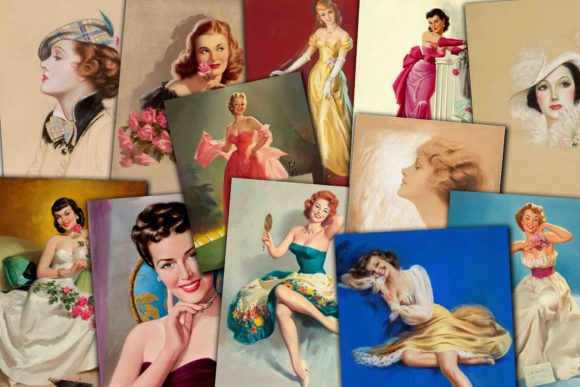 Print on Demand: Vintage Women Portraits Graphic Illustrations By retrowalldecor
