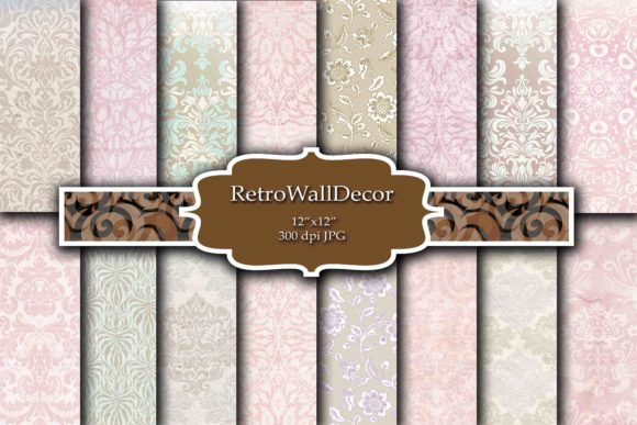 Print on Demand: Wallpaper Digital Paper Graphic Backgrounds By retrowalldecor