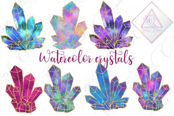 Print on Demand: Watercolor Crystals Clipart Graphic Illustrations By fantasycliparts