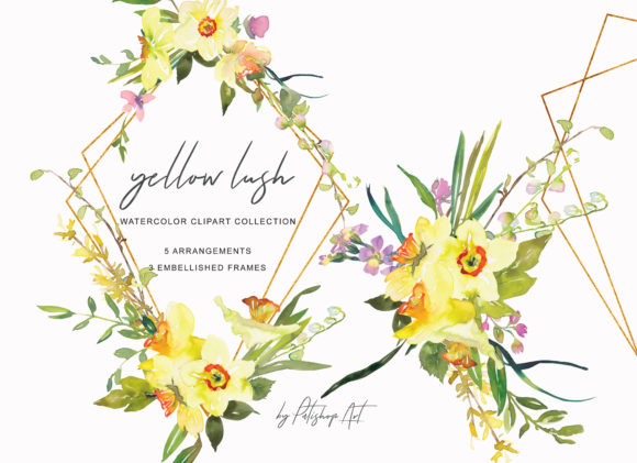 Watercolor Daffodil Bouquets and Frames Graphic Illustrations By Patishop Art