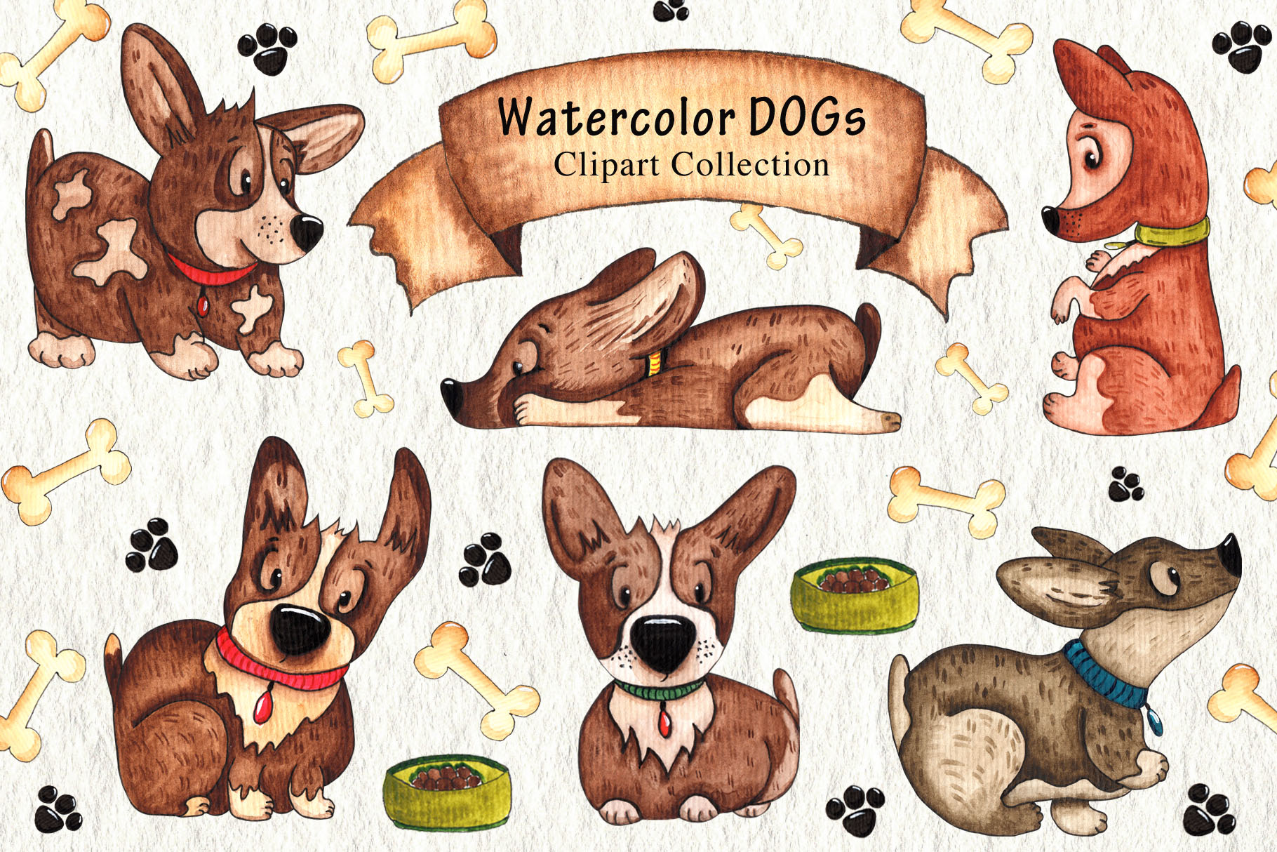Download Free Watercolor Dogs Collection Grafico Por Tanatadesign Creative for Cricut Explore, Silhouette and other cutting machines.