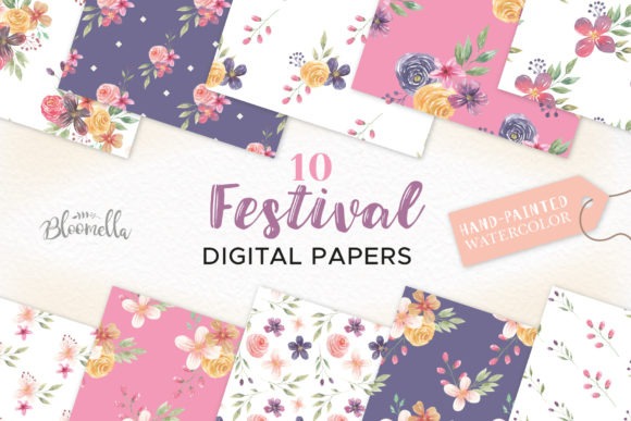 Watercolor Festival Seamless Patterns Graphic Patterns By Bloomella
