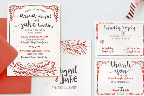 Print on Demand: Watercolor Floral Invitation Suite Graphic Print Templates By Blue Robin Design Shop