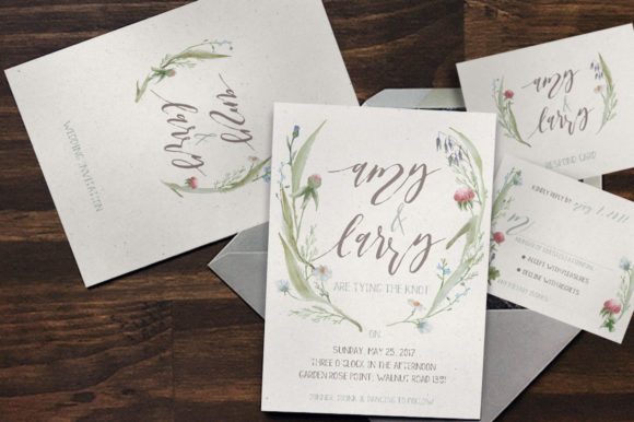 Print on Demand: Watercolor Flower Wedding Invitation Suite Graphic Print Templates By Blue Robin Design Shop