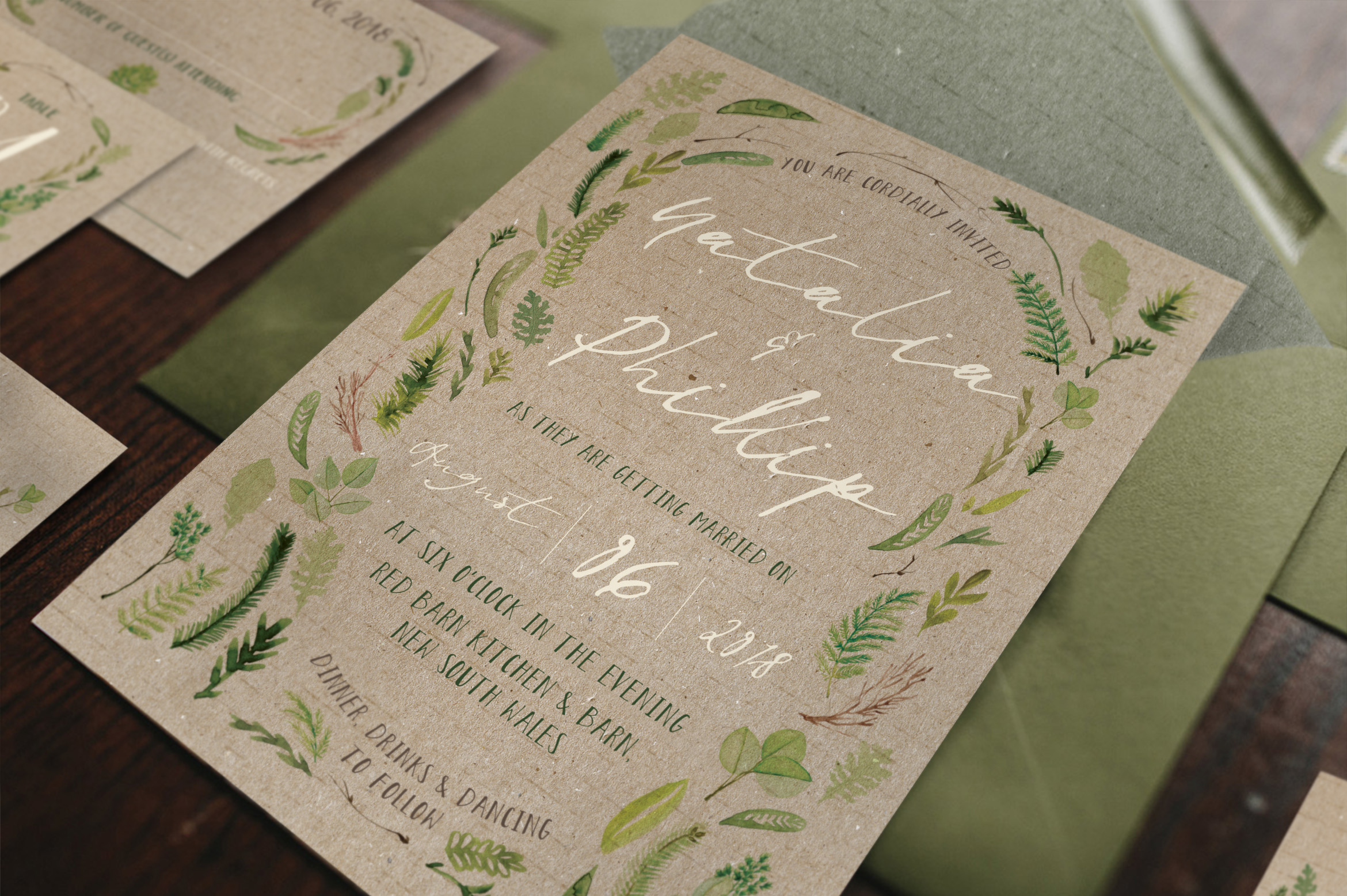 Download Free Watercolor Foliage Wedding Invitation Suite Graphic By Blue for Cricut Explore, Silhouette and other cutting machines.