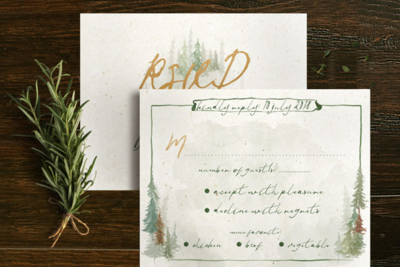 Download Free Watercolor Forest Wedding Invitation Graphic By Blue Robin for Cricut Explore, Silhouette and other cutting machines.