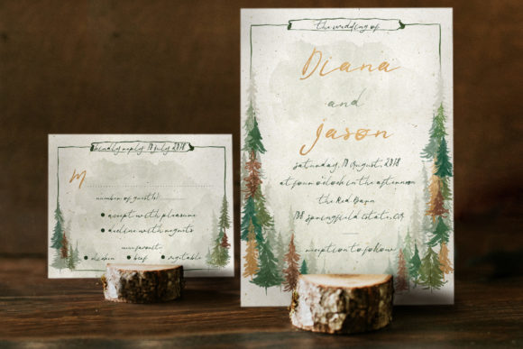 Watercolor Forest Wedding Invitation Graphic By Blue Robin Design Shop Image 4