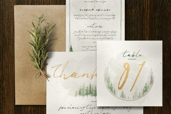 Watercolor Forest Wedding Invitation Graphic By Blue Robin Design Shop Image 5