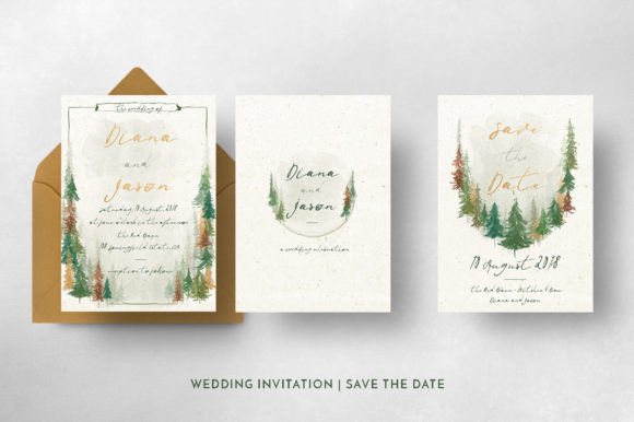 Watercolor Forest Wedding Invitation Graphic By Blue Robin Design Shop Image 6