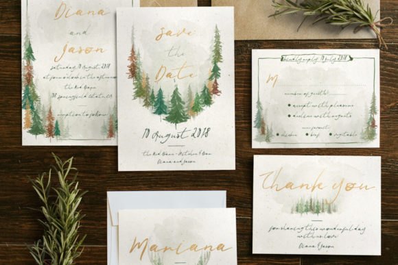 Print on Demand: Watercolor Forest Wedding Invitation Graphic Print Templates By Blue Robin Design Shop