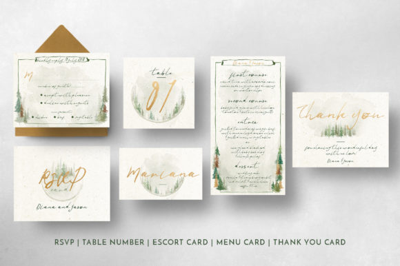 Watercolor Forest Wedding Invitation Graphic By Blue Robin Design Shop Image 7