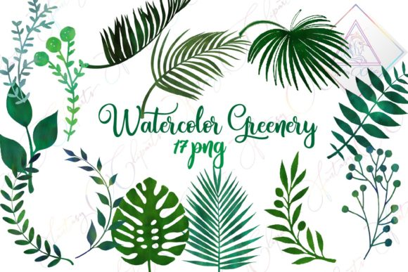 Print on Demand: Watercolor Greenery Clipart Graphic Illustrations By fantasycliparts