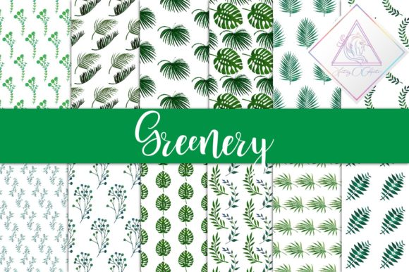 Print on Demand: Watercolor Greenery Digital Paper Graphic Textures By fantasycliparts - Image 1